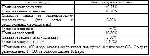 Таблица 1 – Составляющие положительного денежного потока биогазовых проектов